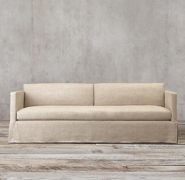 Belgian Classic Shelter Arm Slipcovered Sofa
