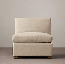 Belgian Classic Shelter Arm Upholstered Armless Chair