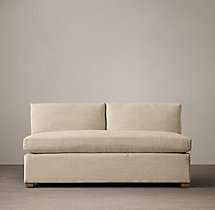 Belgian Classic Shelter Arm Upholstered Armless Sofa