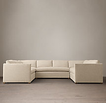 Preconfigured Belgian Classic Shelter Arm Upholstered U-Sofa Sectional