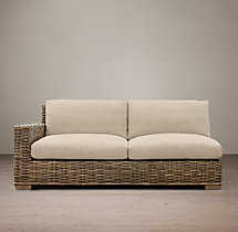 Antilles Rattan Left-Arm Sofa Cushions