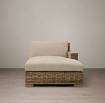 Antilles Rattan Right-Arm Chaise