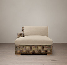 Antilles Rattan Left-Arm Chaise Frame