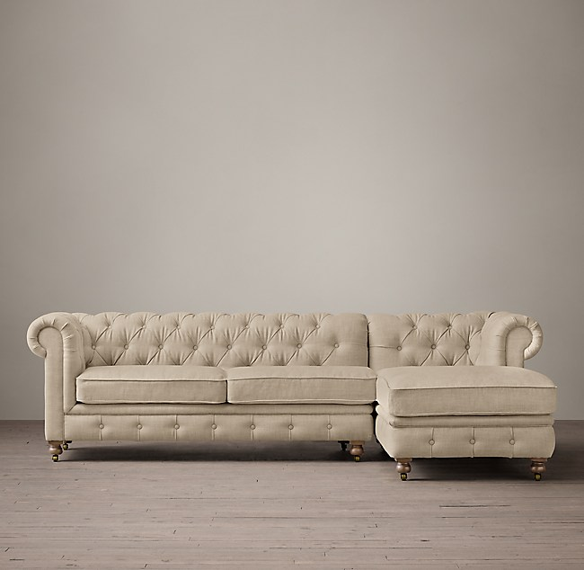 Petite Kensington Upholstered Right Arm Chaise Sectional