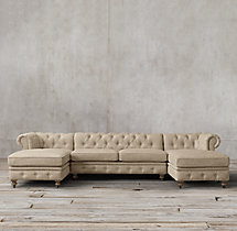Preconfigured Petite Kensington Upholstered U-Chaise Sectional