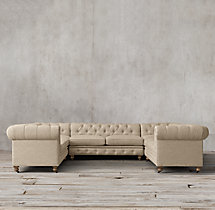 Preconfigured Petite Kensington Upholstered U-Sofa Sectional