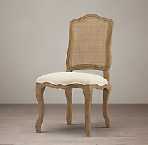 Vintage French Camelback Cane Back Fabric Side Chair