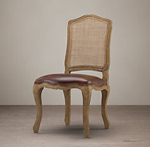 Vintage French Camelback Cane Back Leather Side Chair