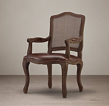Vintage French Camelback Cane Back Leather Armchair