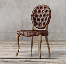 19th C. French Victorian Tufted Round Leather Side Chair