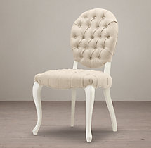 19th C. French Victorian Tufted Round Side Chair