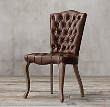 19th C. French Victorian Tufted Camelback Leather Side Chair