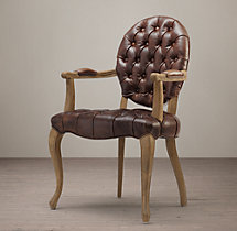 19th C. French Victorian Tufted Round Leather Armchair