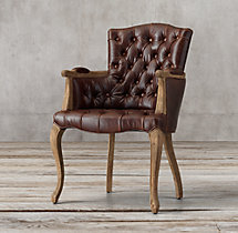 19th C. French Victorian Tufted Camelback Leather Armchair