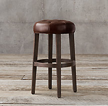 Bennett Round Leather Stool