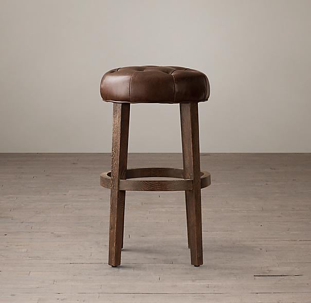 Bennett Round Leather Stool
