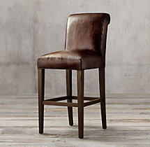Hudson Roll-Back Leather Stool