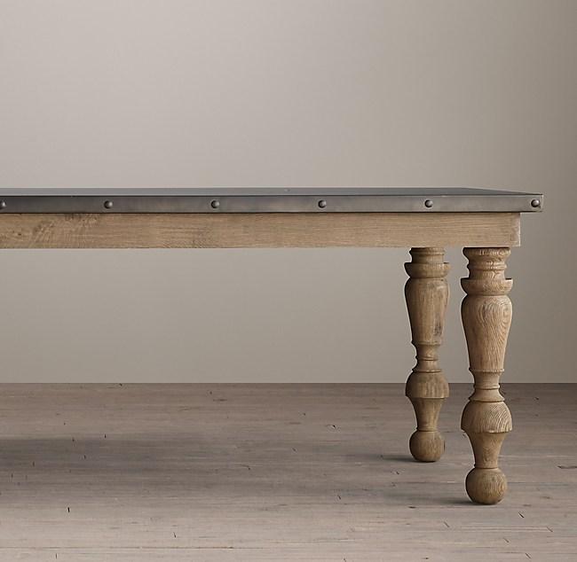 Th C Oak Zinc Baluster Rectangular Dining Table - Restoration hardware zinc table