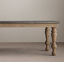 19th C. Oak & Zinc Baluster Rectangular Dining Table