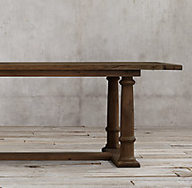 19th C. Reclaimed Russian Oak Column Rectangular Table