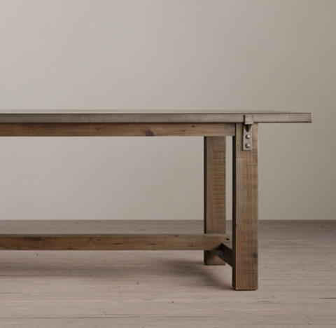 Reclaimed Wood ZincTop Rectangular Dining Table