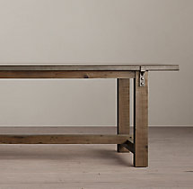Reclaimed Wood & Zinc-Top Rectangular Dining Table