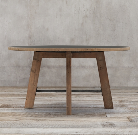 Top Railway Trestle Round Dining Table