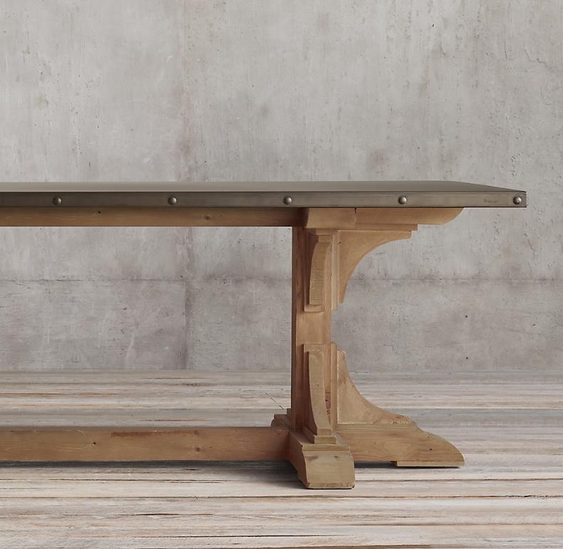 Zinc Trestle Rectangular Dining Table