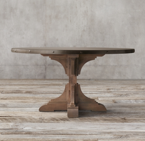 C Reclaimed Pine Zinc Trestle Round Dining Table