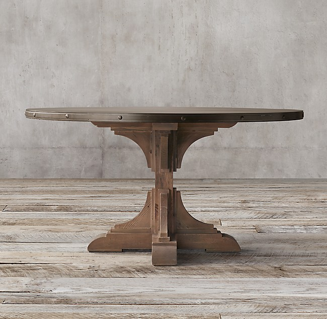 20th C Reclaimed Pine Zinc Trestle Round Dining Table