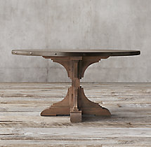 20th C. Reclaimed Pine & Zinc Trestle Round Dining Table