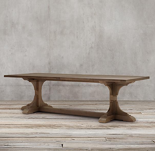 20th C Reclaimed Pine Trestle Rectangular Dining Table