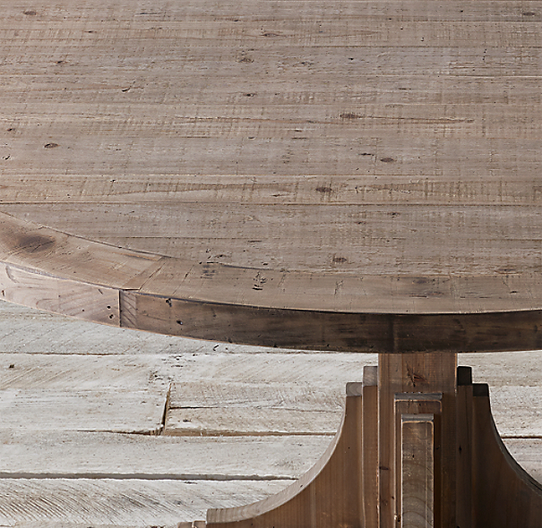 20th C Reclaimed Pine Trestle Round Dining Table