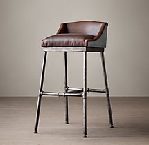 Iron Scaffold Leather Stool