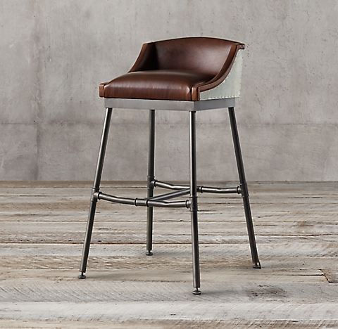 More Styles Iron Scaffold Leather Stool