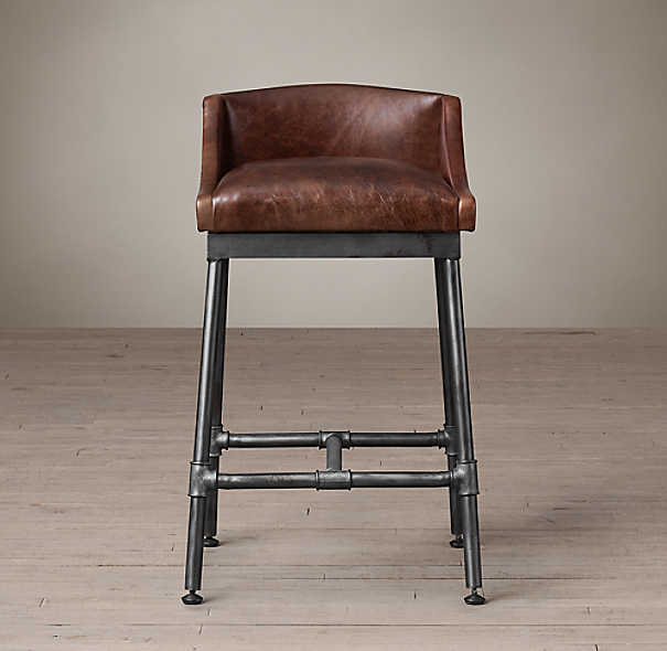 Iron Scaffold Leather Stool