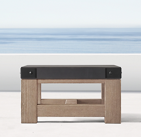French Beam Concrete Teak Side Table