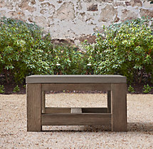 French Beam Weathered Concrete & Teak Side Table