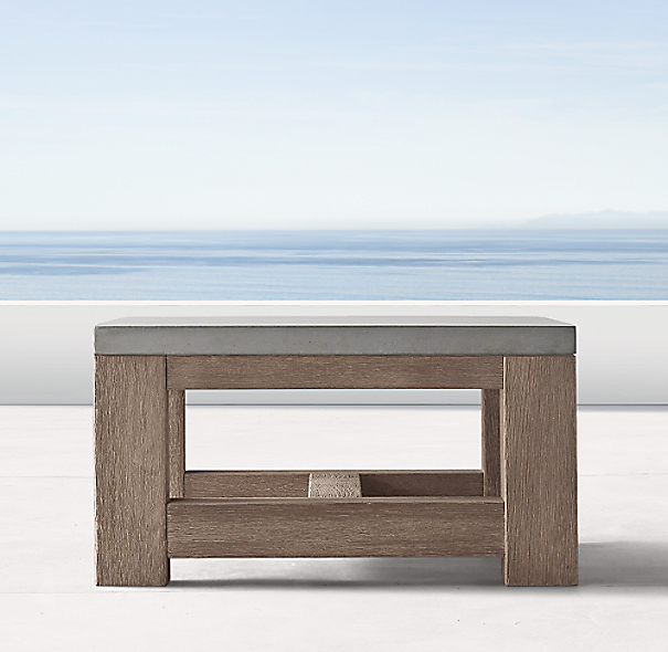 Rh French Beam Coffee Table: French Beam Weathered Concrete & Teak Side Table