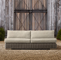 "80"" Majorca Luxe Two-Seat Armless Sofa Cushions"
