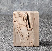 Petrified Wood Outdoor Square Side Table