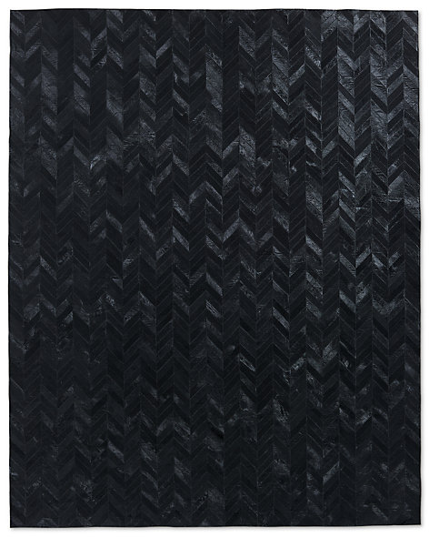 Chevron Cowhide Rug - Black