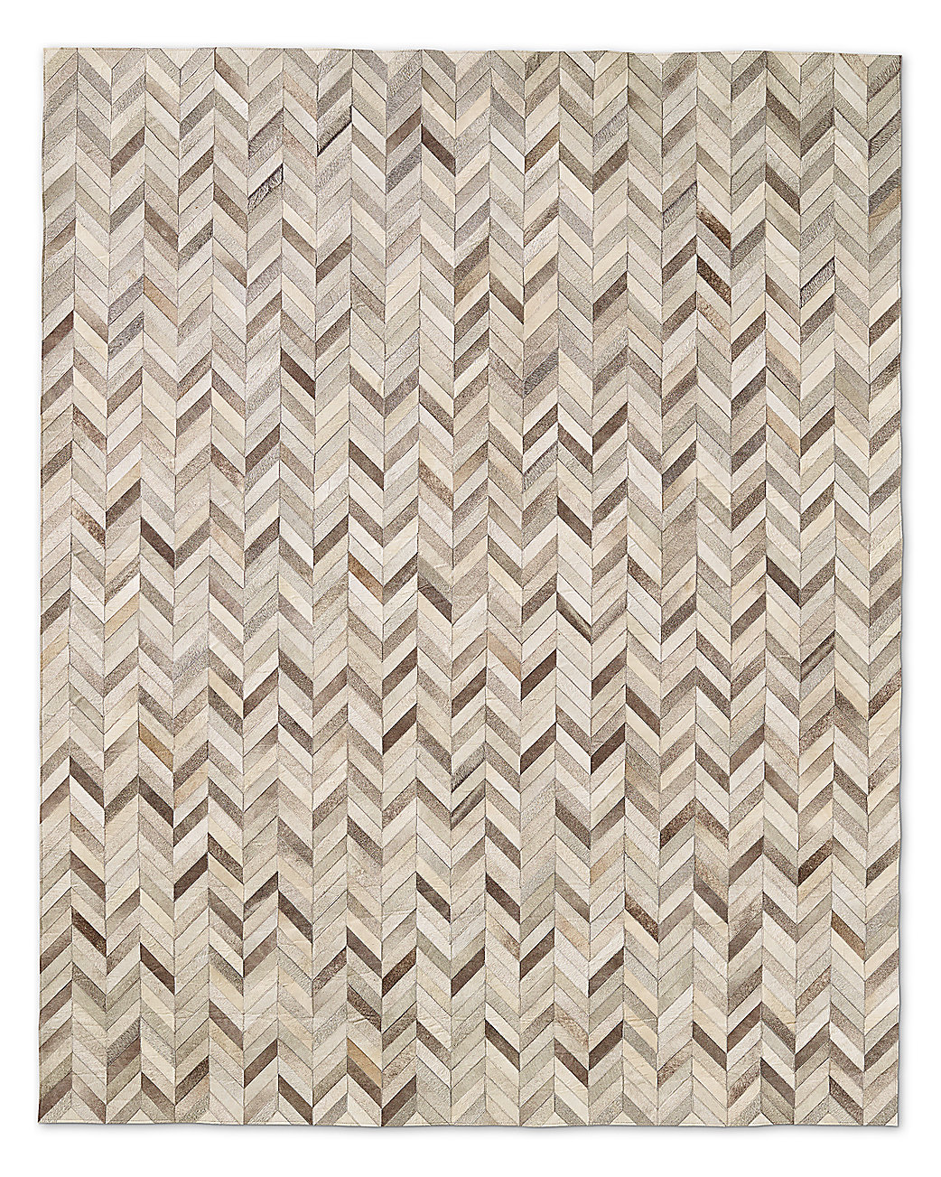 Chevron Cowhide Rug Grey