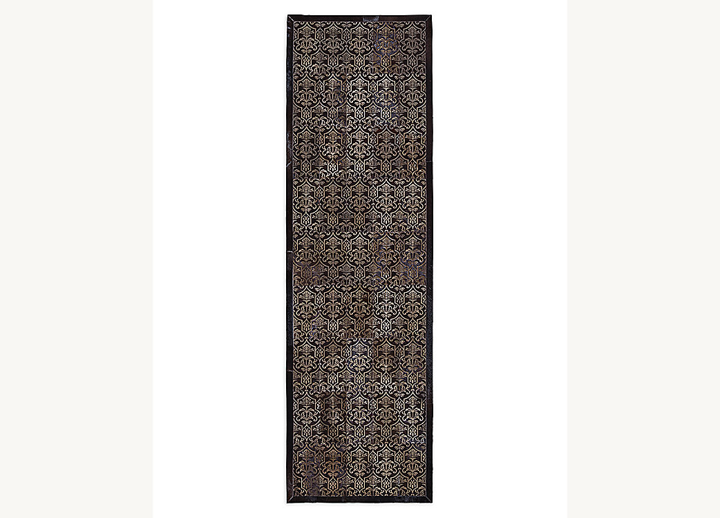 Etched Porta Tile Cowhide Rug - Chocolate