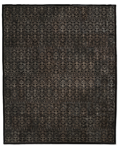 Etched Porta Tile Cowhide Rug - Black