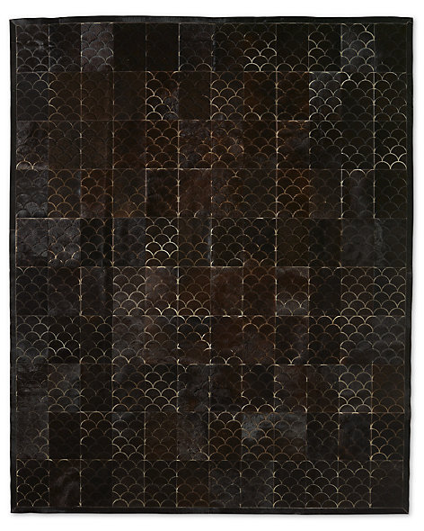 Etched Scallop Cowhide Rug - Black