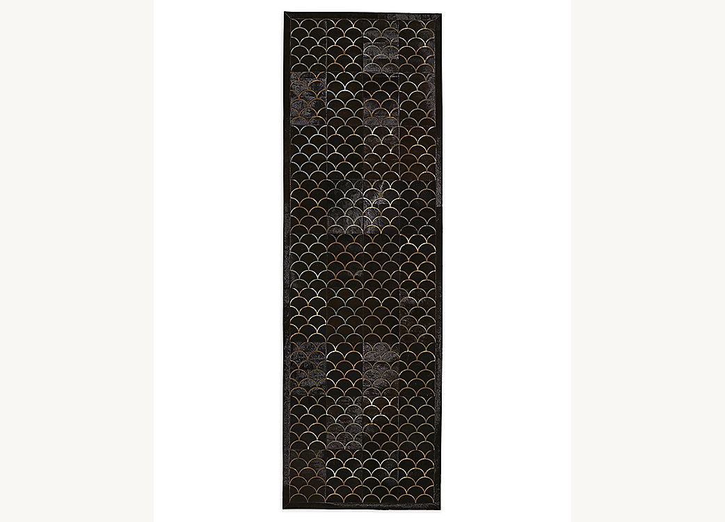 Etched Scallop Cowhide Rug - Chocolate