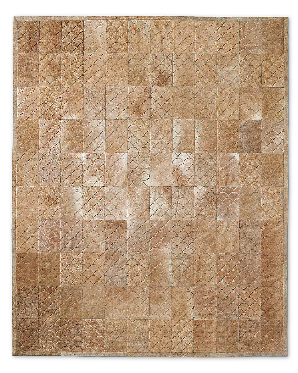 Etched Scallop Cowhide Rug - Sand