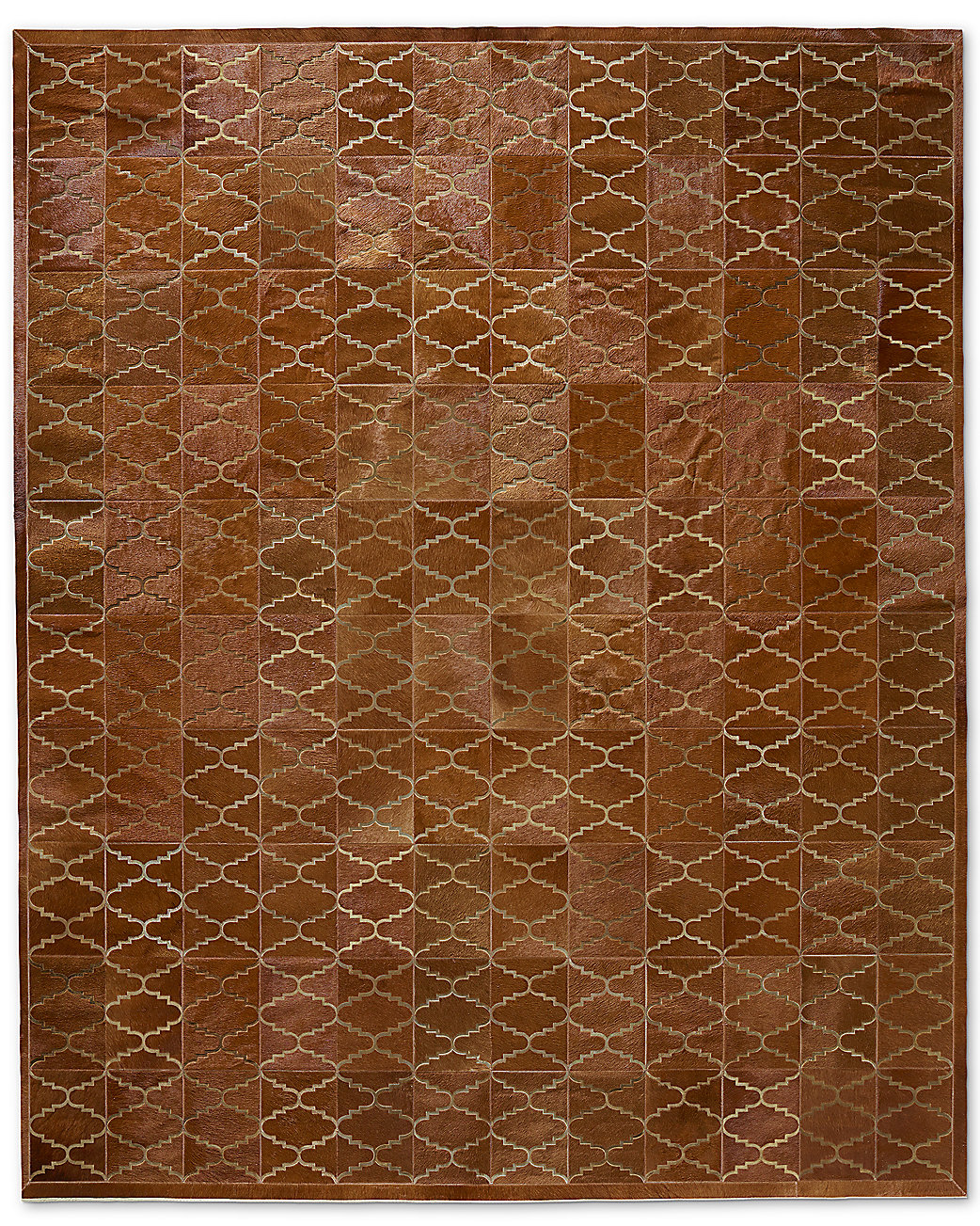 Etched Moroccan Tile Cowhide Rug - Caramel