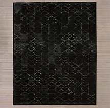 Etched Moroccan Tile Cowhide Rug - Black